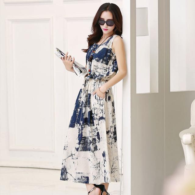 Elegant Women Linen Summer Dress Sleeveless Floral Casual Dress Fashion Female Long Dresses Adjust Waist Vintage Vestido