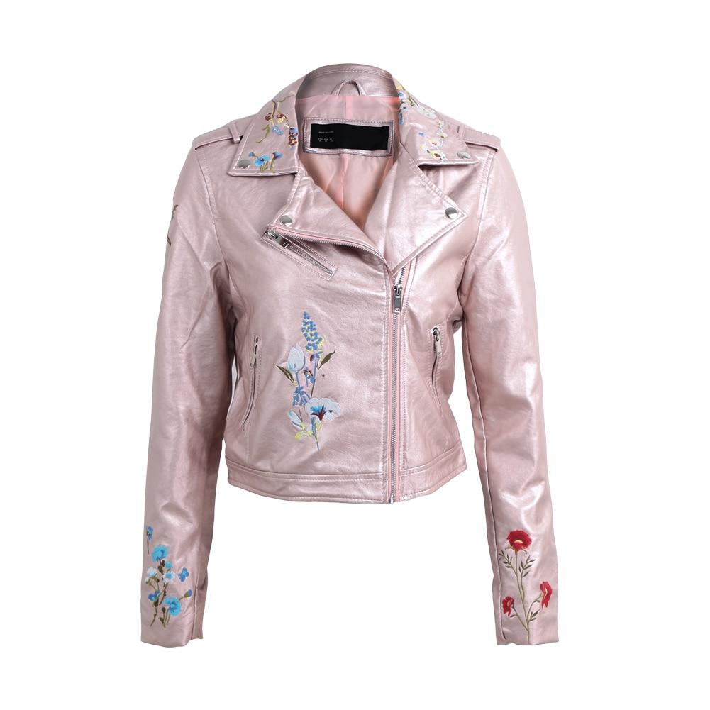Flower Embroidery Leather   Jacket   Coat Women Long Sleeve Motorcycle   Basic     Jacket   2017 Autumn Fashion Outwear Short Bomber   Jacket