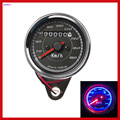 New Universal Fit Retro Motorcycle Odometer Speedometer Speed Gauge 2 in 1 With Led Back Light