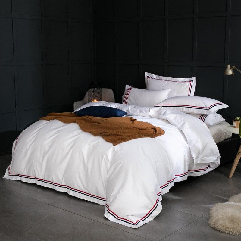 Гостиничное хлопковое постельное белье, набор, белый цвет, плоская или подогнанная простыня, наволочка и пододеяльник, наборы, королева, кор