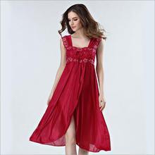Summer Dress 2018 Lace Sleeveless Lingerie Sexy Women Nightwear Silk Night Gowns Satin Nightgown Sleepwear Red/Black Pink Q134