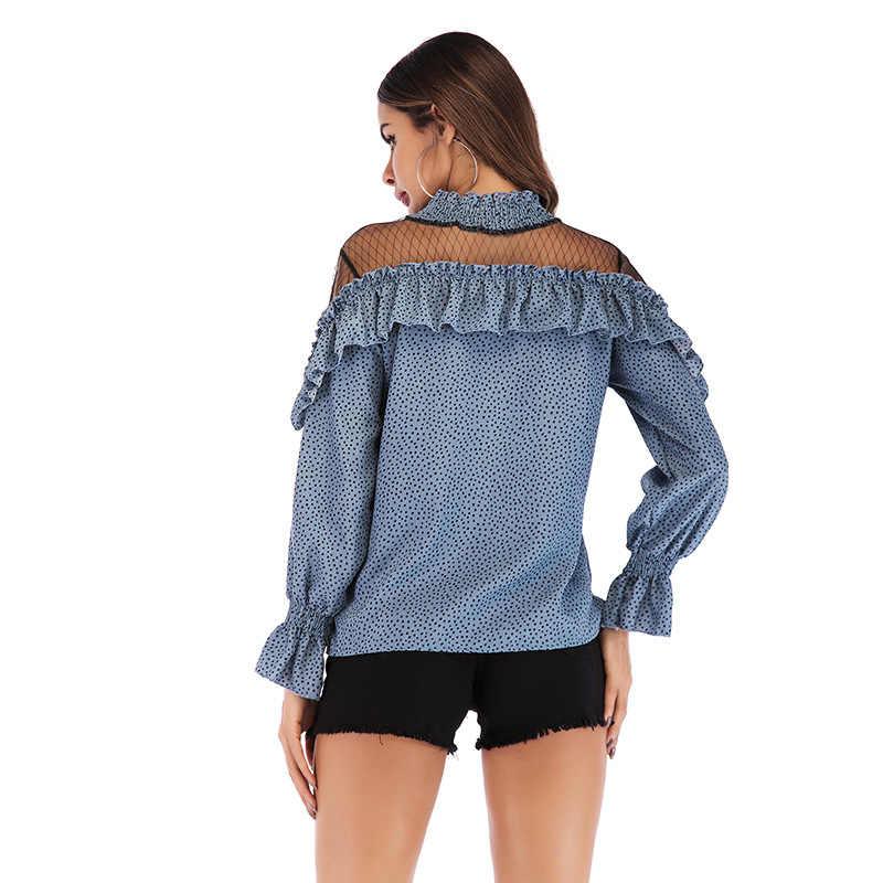 Moda Blusas Mujer de Moda 2019 Gola Malha Patchwork Mulheres Chiffon Blusas Camisa Escritório Mulheres Sexy Ruffles Tops Blusas