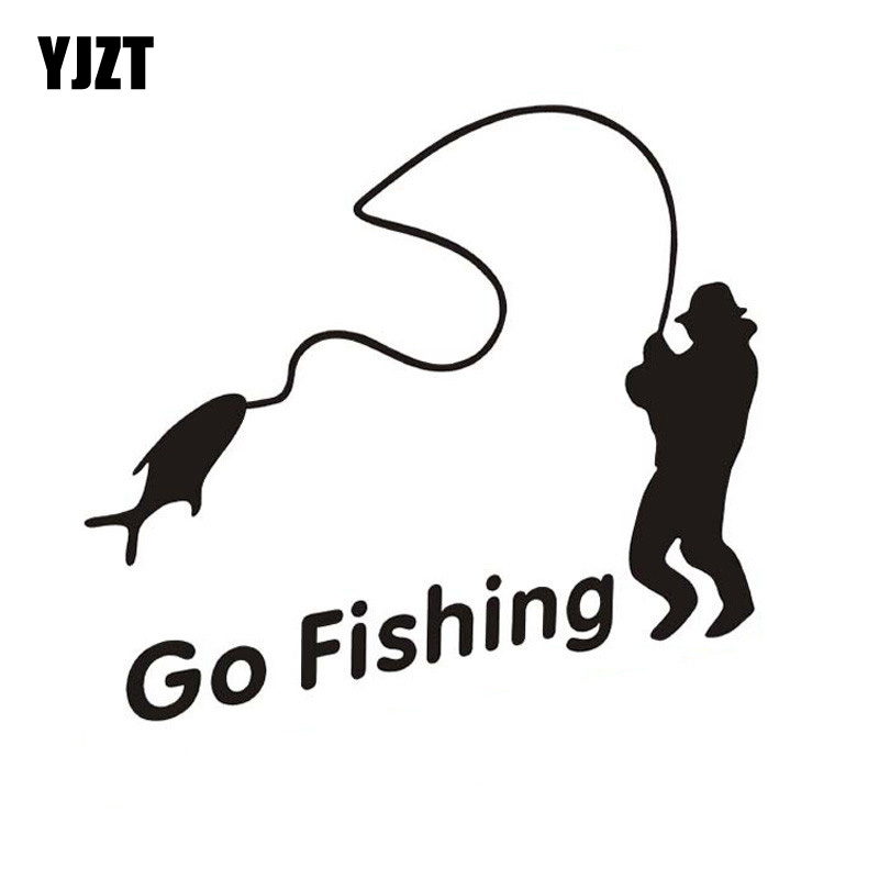 Outdoor Sports Fishing GO FISHING Stickers Car Accessories Car Stickers Decals Black Silver CT-390