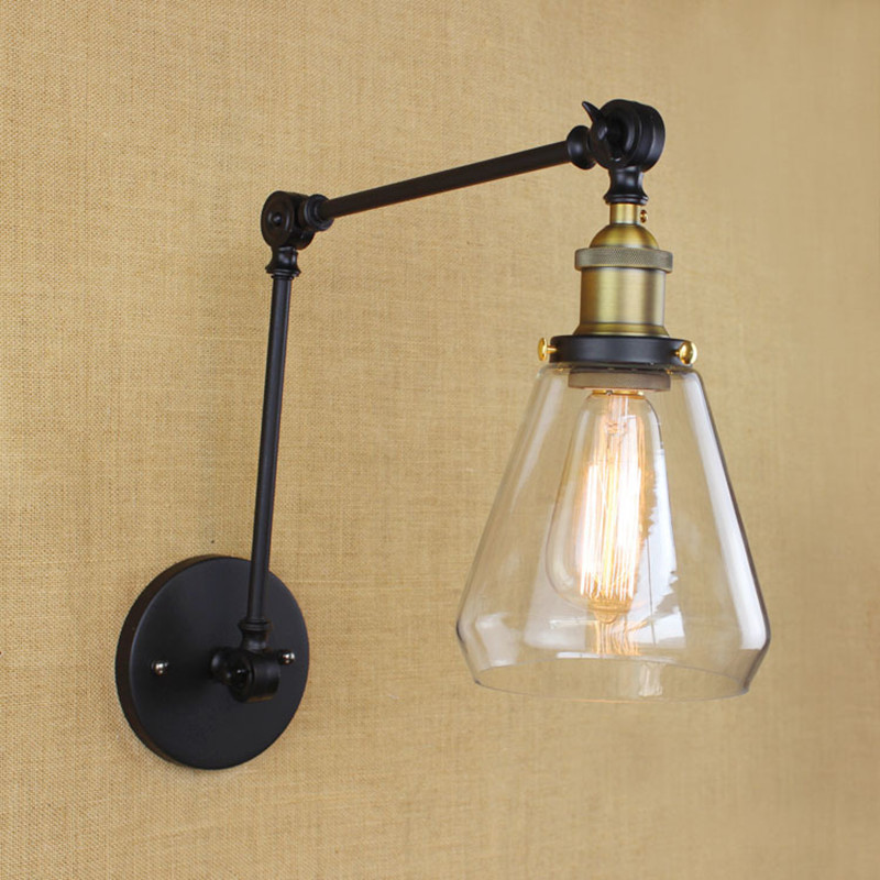 Industrial Vintage Simple&Modern Iron Cafe Wall Lamp 2 Swing Arm Clear Glass Shade Restaurant Study Wall Light Free Shipping free shipping 2 styles black finished iron lampshade hot selling vintage diy lighting shade industrial retro light shade