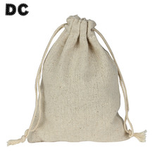 10pcs/lot 8*10/9*12/10*14/13*17cm Jewelry Packing Burlap Organizer Bag Drawstring Bags Pouches Linen Flax Fabric Packaging F2759