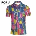 FORUDESIGNS Men's Brand Modern Polo Shirt 3D Mix-colored Graffiti Print Polos for Male Breathable Casual Men Clothes Short Polos
