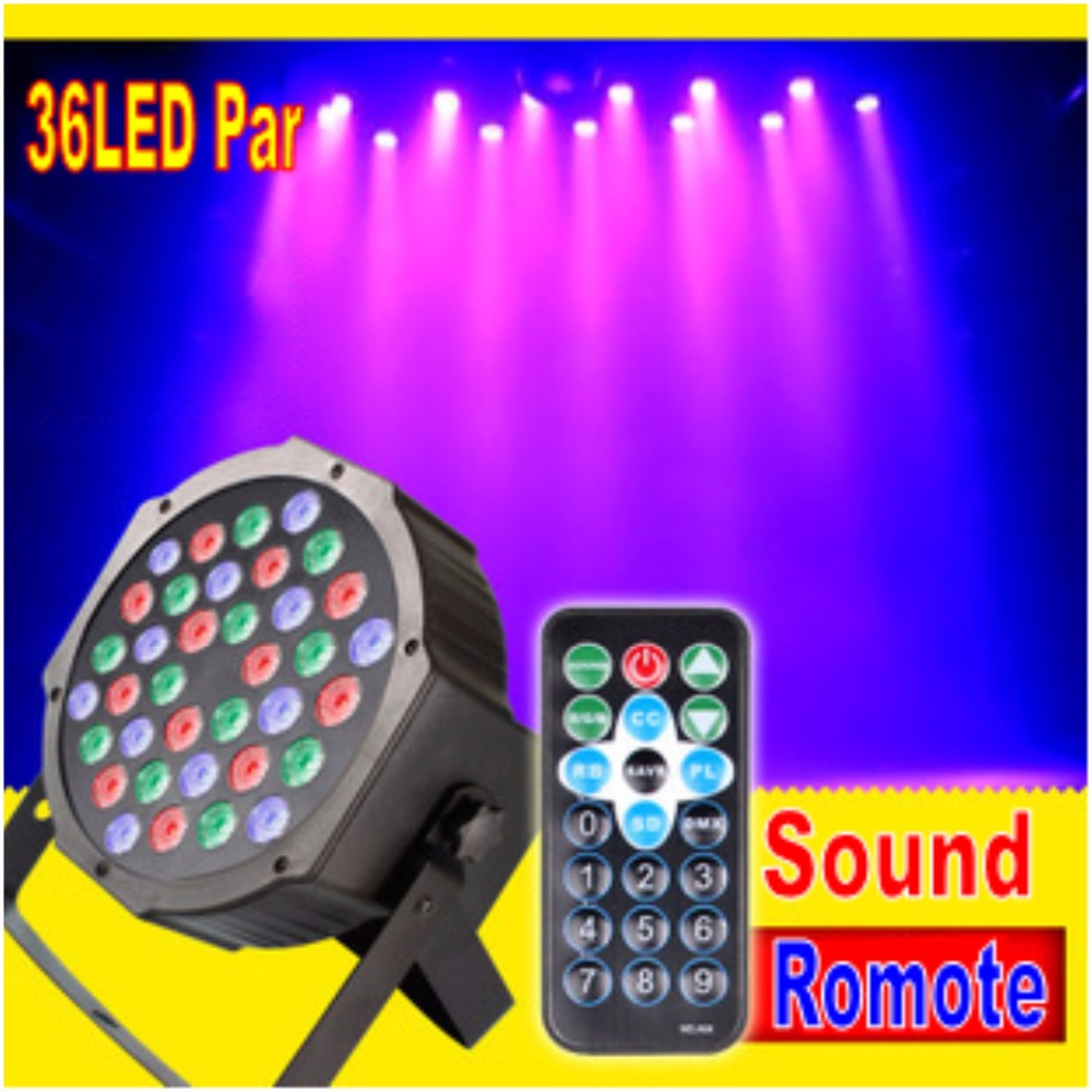 Tinhofire Remote Control 36W 36 LED Stage Light RGB Par Light DMX512 LED Flat DJ Equipment Controller Discos KTV Music Light 2pcs high quality 512 dmx console stage light equipment 192 dmx controller for stage lighting led par beam lights