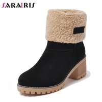 SARAIRIS 2018 Women Winter Warm Fur Shoes Woman Black Green Chunky Heel Platform Ankle Snow Boots Big Size 34 43