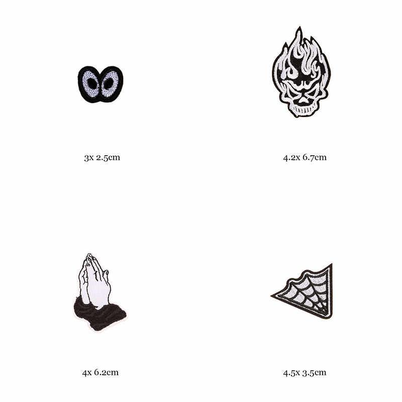 1 pièce noir blanc Biker patchs pour vêtements fer à repasser sur vêtements lettre Appliques crâne étoiles rayures brodé autocollant rond Badge