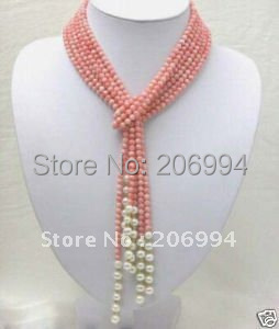 Новое поступление дизайн розовый коралловый белый пресноводный жемчуг ожерелье Самая низкая мода ювелирные изделия подарок#2