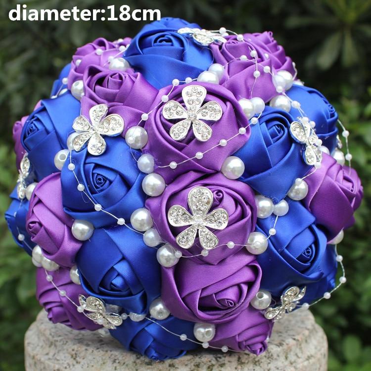 Custom Make Royal Blue Purple Diamond Wedding Sch Bouquet Stunning De Novia Flower Mariege Bridesmaid W224