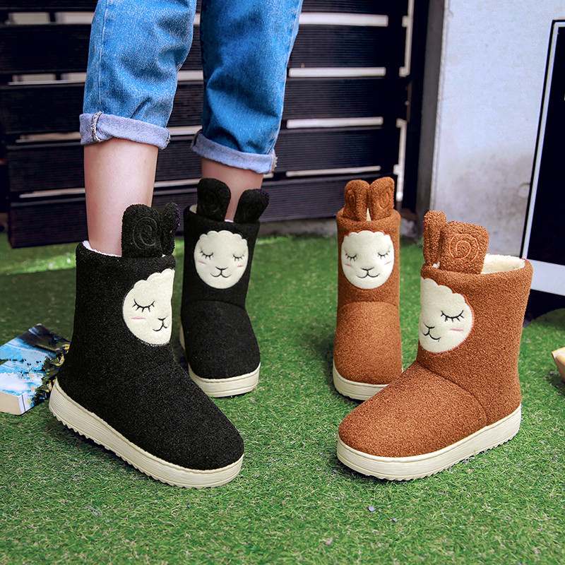 YMECHIC 2018 Cute Sweet Yellow Red Black Cartoon Lamb Winter Boots Female Mid Calf Platform Plush Snow Boots Ladies Girls Shoes