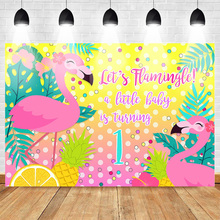 Neoback Cartoon Flamingo Summer Photo Background for Photography 1st Birthday Baby Party Backdrop Flower Pineapple Lemon