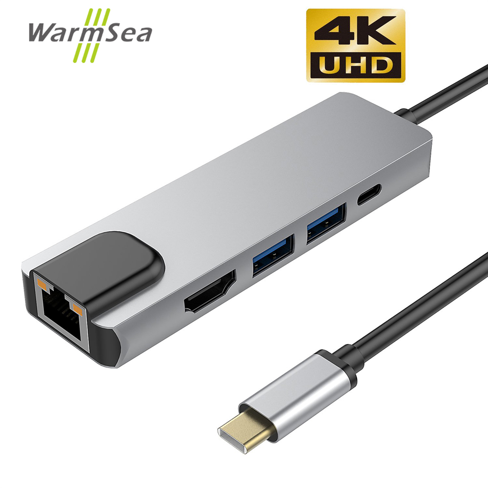 USB Type C Hub Thunderbolt 3 Adapter with 4K HDMI RJ45 Gigabit Ethernet USB 3.0 Ports USB C Network Adapter for MacBook ProUSB Type C Hub Thunderbolt 3 Adapter with 4K HDMI RJ45 Gigabit Ethernet USB 3.0 Ports USB C Network Adapter for MacBook Pro