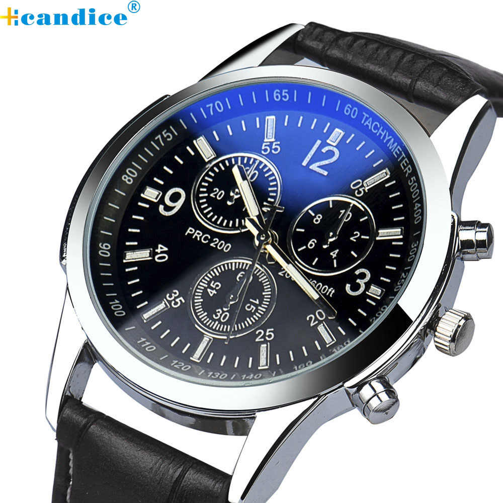 Splendid Fashion Mens Watches Top Brand Luxury Watch Military Men's  Faux Leather Quartz Wrist Watch Masculino Reloje