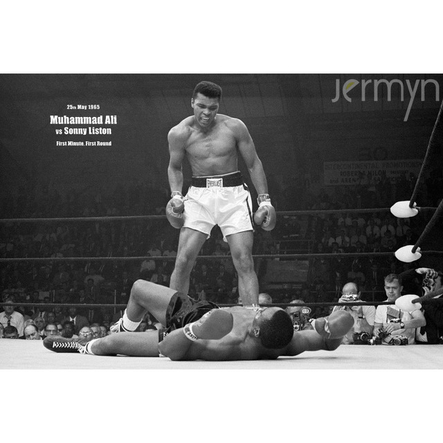 Jermyn retro figure oil painting boxing star muhammad ali black and white poster unframed wall canvas