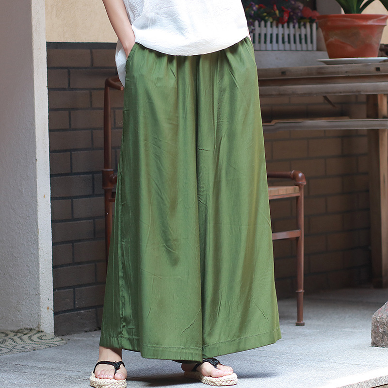 ORIGOODS Elastic waist Cupro   Wide     leg     Pants   Women Solid White Black Army green Summer   Pants   Skirt Women   Wide     leg   Trousers C179