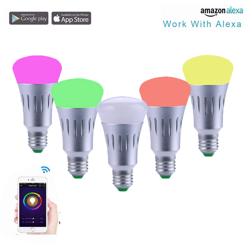 Smart Bluetooth Light Bulb WIFI Intelligent Bulbs 7W Color Change Dimmable Lamp RGBW Voice Lighting Home Decoration Echo Alexa lightme smart e27 light bulb intelligent colorful led lamp bluetooth 3 0 speaker for home stage energy saving led light bulbs