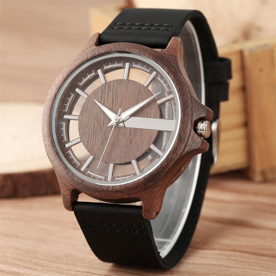 Transparent Hollow Dial Coffee/Brown/Black Wood Watches Quartz Timepiece Genuine Leather Watchband Creative Mens Watch New 2019Quartz Watches   -