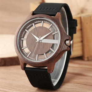 Image 1 - Transparent Hollow Dial Coffee/Brown/Black Wood Watches Quartz Timepiece Genuine Leather Watchband Creative Mens Watch New 2019
