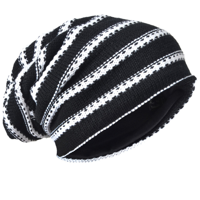 b10120fba2679 HISSHE Classic Men Slouch Knitting Beanie Cap Winter Mens Baggy Casual Striped  Knit Skullies Cap High Quality Acrylic Hat