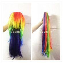 Pony Wig with a Tail for Halloween Cosplay Party Kids Adult Supplies Rainbow Multi Color DIY