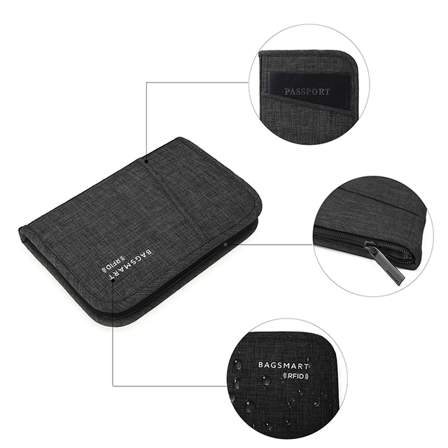BAGSMART Multifunctional RFID Travel Bag for Passport  ID Card Credit Card Men Zipper Clutch Wallet Travel Organizer Bag