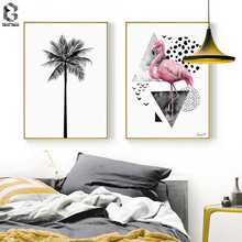 Nordic Canvas Prints and Posters Wall Art Flamingo Wall Pictures Palm Tree for Home Decoration, Modern Paintings Wall Decor modern seaside sunrise palm tree beach wall art posters and prints canvas paintings on the wall home decoration
