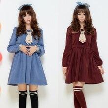 Borgoña/azul de una sola pieza de cuello de marinero uniforme escolar japonés traje de sweet girls lolita cosplay winter dress
