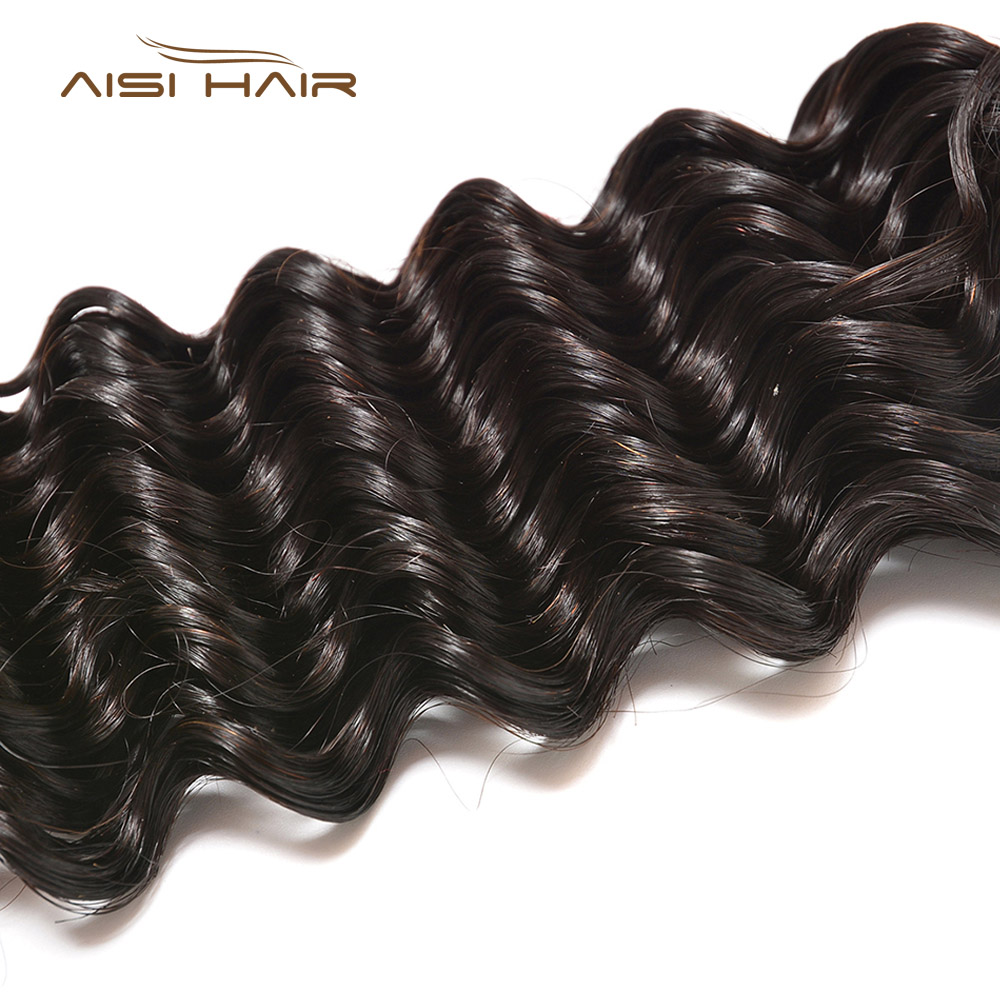 AISI Malaysian Virgin Hair Deep Wave Bundles 10-26 Inches 1PC None Remy Weave Bundles 100% unprocessed Human Hair Extensions