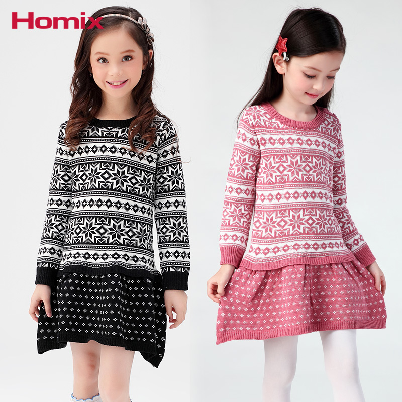 3T-10T Girls Knitted Dresses Girl Clothes Sweater D Kids Sweater Children Clothing girl sweater dress superfine wool knitted dress 2015 o neck pocket long sweater tassels christmas children clothing kids dresses