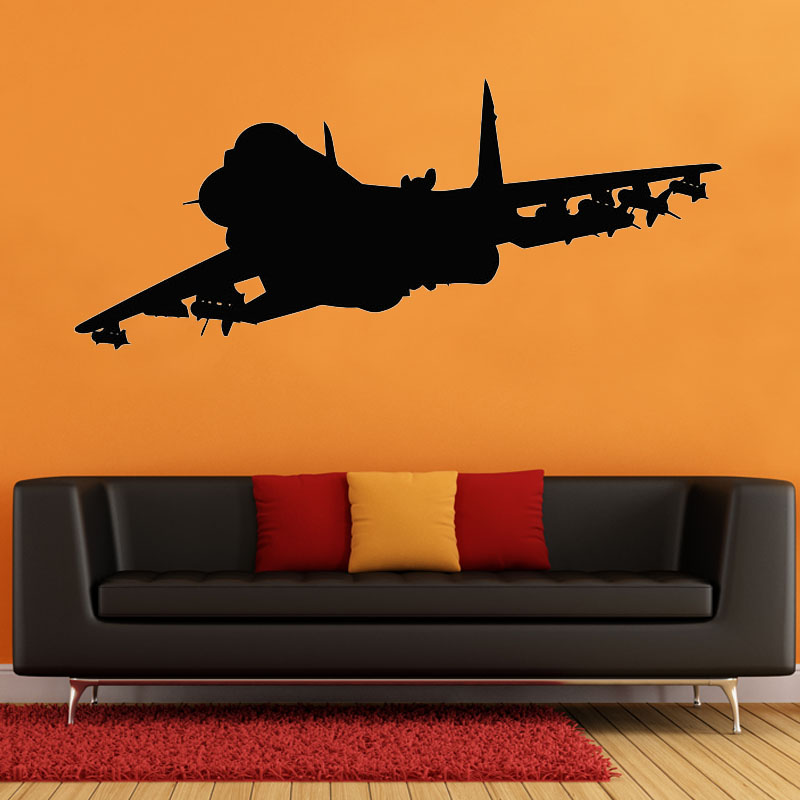 Jet Airplane Wall Sticker Aircraft Air Military Plane Vinyl Decal Home Garage Room Interior Decoration
