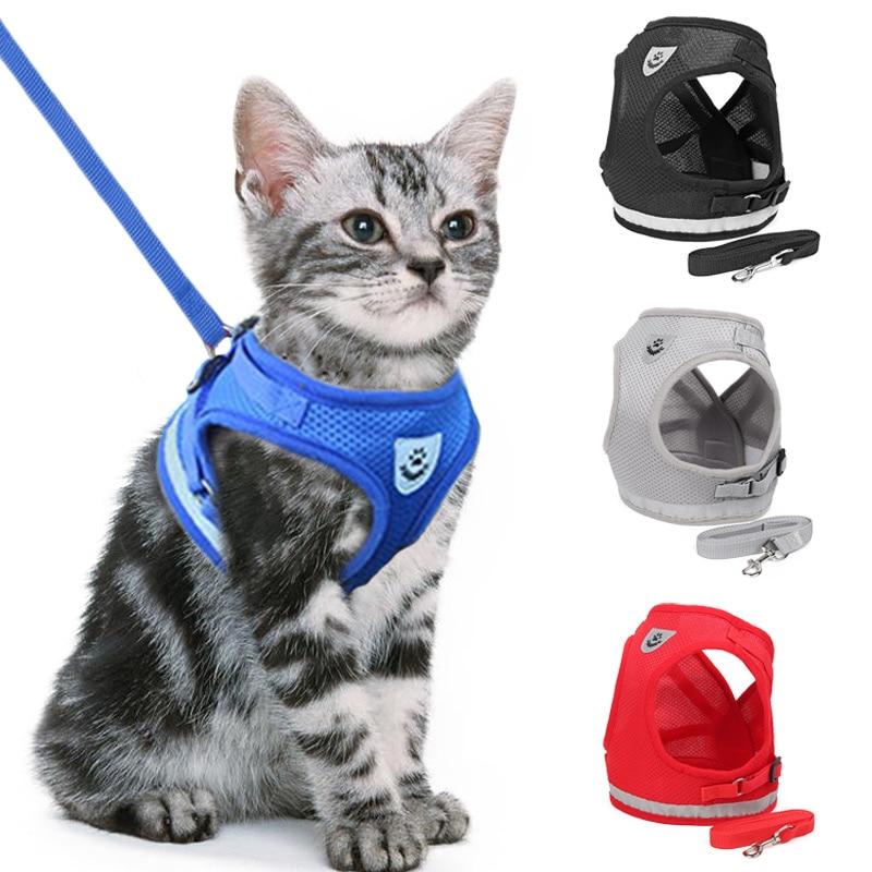 Conjunto de arnés y correa reflectante para gatos, malla de nailon, chaleco para cachorros, ropa para mascotas, perros pequeños, yorkies, doguillo