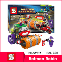 SY SY317 305Pcs Super Heros Series Batman Robin Clown steam roller Model Building Blocks Bricks Set Toys with Children Toys