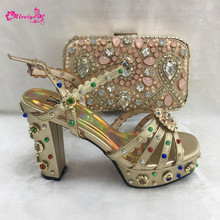 Gold Color Slipper 12cm Women Shoes and Bag To Match Set Ita