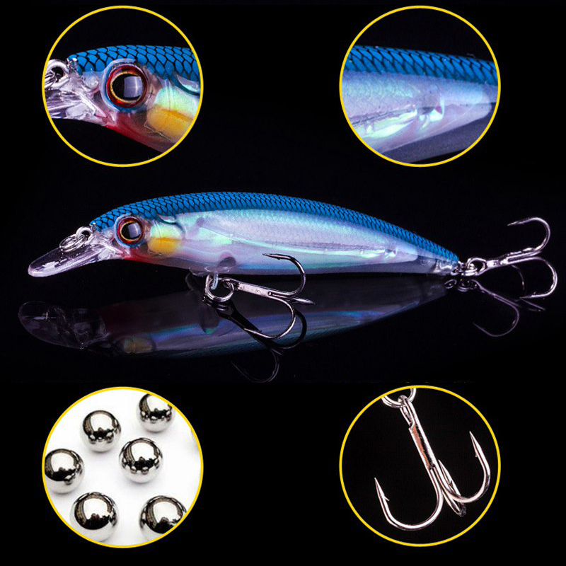 1PCS Luminous Floating Minnow Angeln Köder Laser Hard Artificial Bait 3D Augen 11cm 14g Wolfram Ball Wobbler Crankbait Minnows
