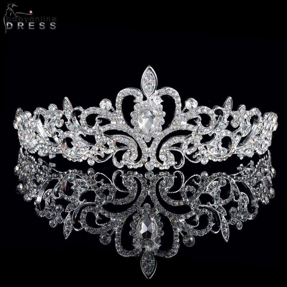 2019 New Trendy Silver Color Crown For Women Fashion Shining Rhinestone Coroa Para Cabelos