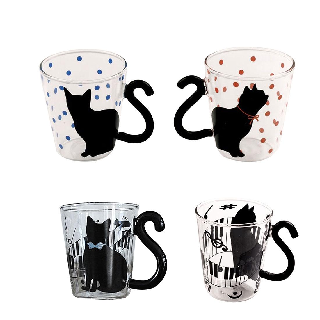 COOL Creative Chat Kitty Verre Tasse Tasse Tasse de Thé Café Au Lait Tasse Musique/Points/Anglais Mots Home Office tasse