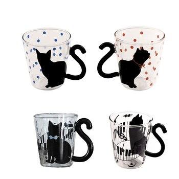 Taza jarro de té de cristal lindo gatito Minino taza de café de leche decoración de puntos taza para el hogar y la Oficina con mango regalo maravilloso