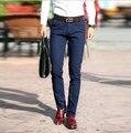 Plus Size Formal de Trabalho Xadrez Calças Dos Homens Plus Size Homens Negros azuis Calças Compridas Trecho Pantalon Casuais Roupas de Algodão dos homens 36 38