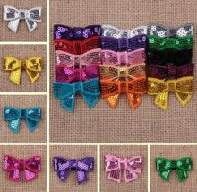 Hair Accessories Sequin Bows Newborn Baby Glitter Bow Tie Embroidery YH510