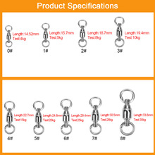 Wholesale Cheap Stainless Steel Fishing Swivel Snap Ball Bearing Carp Fishing Hook Rolling Swivel Connector Clip Tackle 8 Size