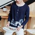 De origen chino paisaje paisaje de impresión de tinta de manga larga boutique de camisa 2016 Otoño calidad de moda casual camisa de los hombres M-5XL