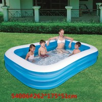 54006 Bestway 262x175x51cm Double Ring Rectangular Inflatable Pool 8'7x69x20 Blue 2 air cell Family Pool 2 Nozzles Fast Drain