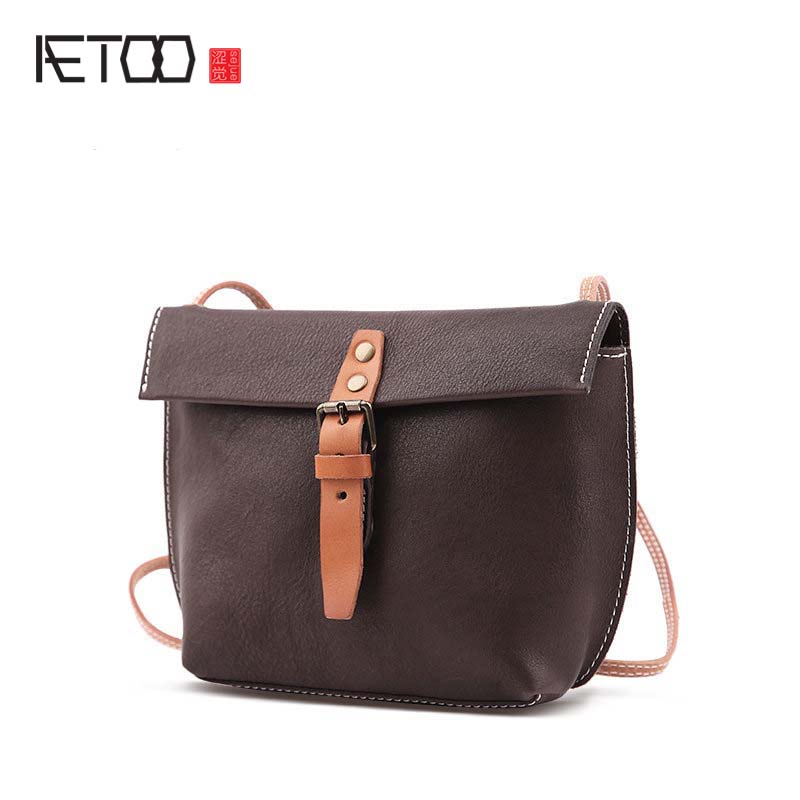 AETOO Leather full leather shoulder bag 2017 new hanging ladies summer small fresh Korean version of the wild saddle Messenger b aetoo simple design leather single shoulder bag dual use female package 2017 new korean version of the limelight leather small b