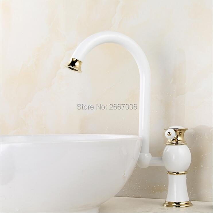 Free Shipping Elegant Swivel Spout Kitchen Faucet Single Handle Bathroom Grilled white paint Sink Mixer Tap Hot And Cold ZR570 led spout swivel spout kitchen faucet vessel sink mixer tap chrome finish solid brass free shipping hot sale