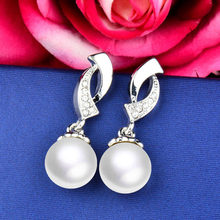 SINLEERY Women OL Lady Imitation White Gray Color Drop Pearl Earrings Elegant Bridal Wedding Jewelry Gifts Es195 SSD(China)