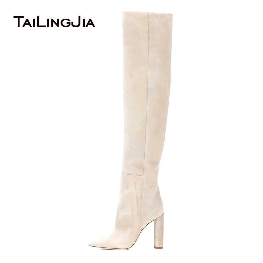b59ed178608 2018 New Knee-High Boots for Women Shoes Winter Pointed Toe Pleated Faux  Suede High