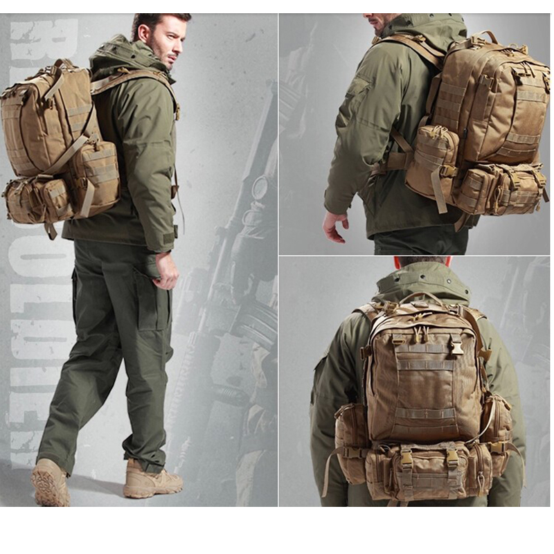 9 Warna Warna! Baru 50L Molle Tactical Backpack Assault Outdoor - Beg sukan - Foto 3