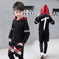 FYH Boys Clothing Teenagers Spring Autumn Sets School Boys Casual Suit Hooded Pullover+ Pants Sports Suit Sets Long Sleeve 2pcs